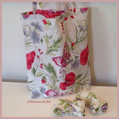 Shopping bag richiudibile in cotone stampato papaveri e farfalle rossi