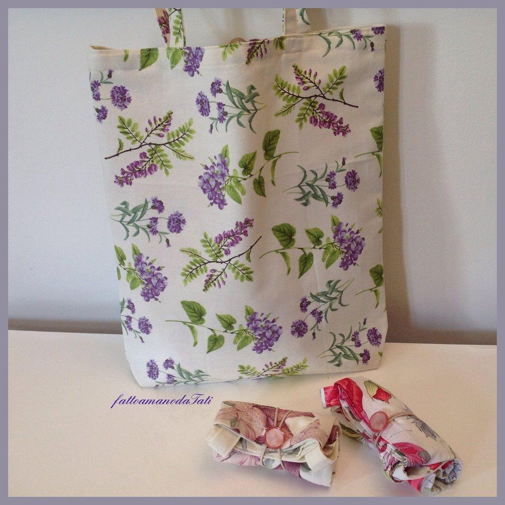 Shopping bag richiudibile in cotone stampato fiori viola