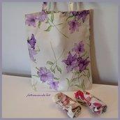 Shopping bag richiudibile in cotone stampato gigli viola