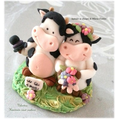Bomboniera segnaposto cake topper Sposi mucca e toro