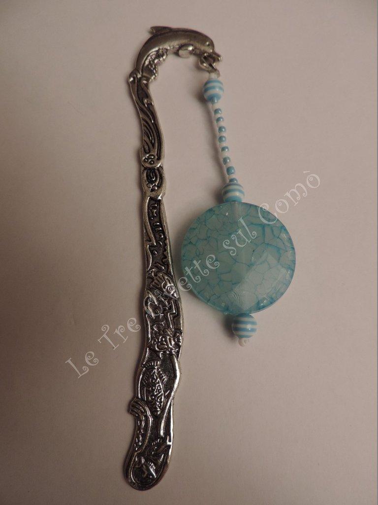 Segnalibro in argento tibetano con delfino e decorazioni celesti fatto a mano