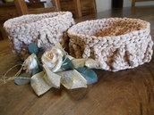Coppia di cestini portatutto in fettuccia color corda ,idea regalo.