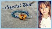 Bracciale bambina cotone e cristallini blu