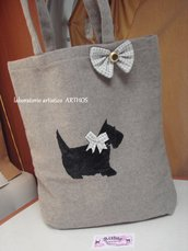 BORSA SHOPPING  CANE TERRIER TESSUTO MARRONE