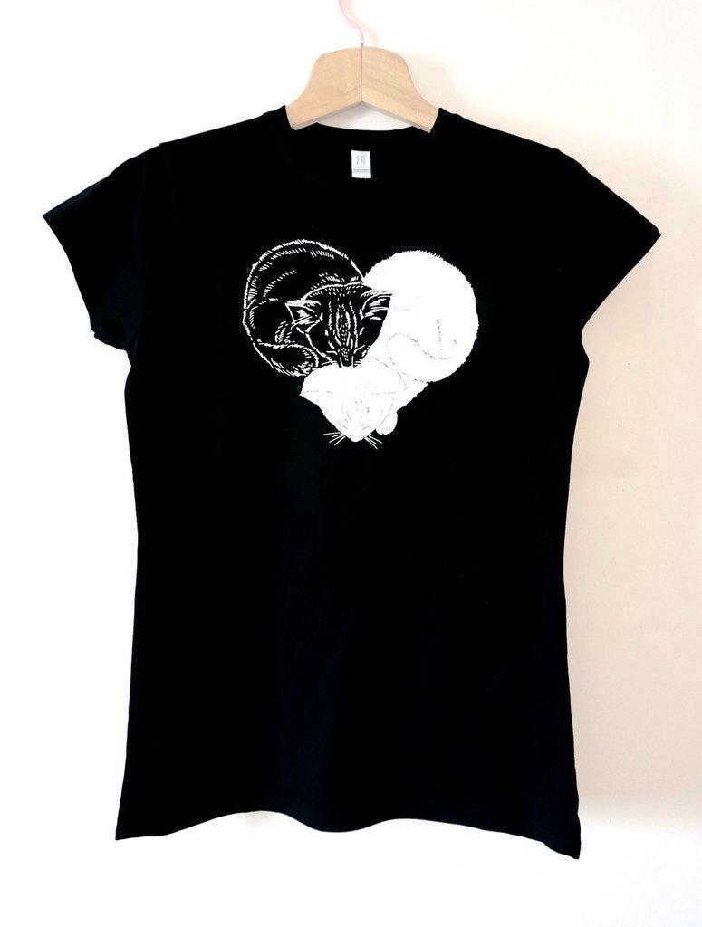 Maglietta t-shirt GATTICUORE da donna TAGLIA L nera - articolo solidale 11 euro in aiuto di cani e gatti abbandonati