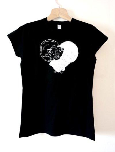 Maglietta t-shirt GATTICUORE da donna TAGLIA XL nera - articolo solidale 11 euro in aiuto di cani e gatti abbandonati