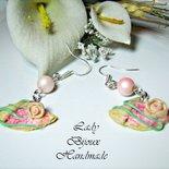 Orecchini con pendenti in miniatura crepes in fimo con perle