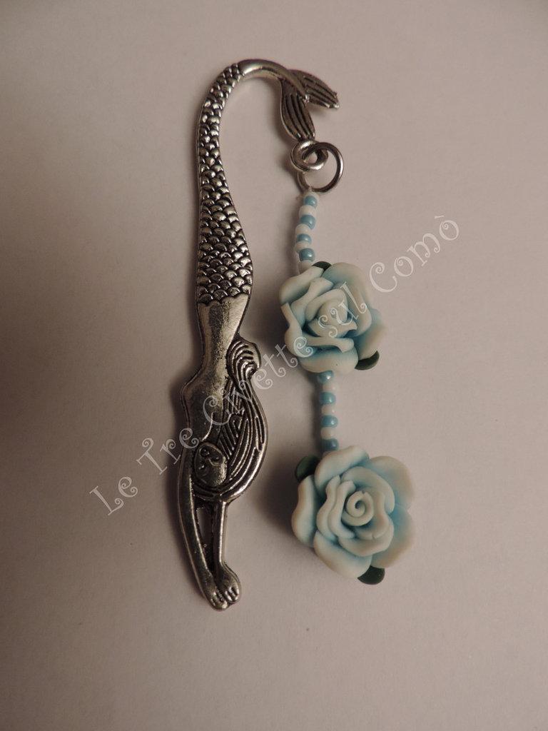Segnalibro Sirena con rose celesti