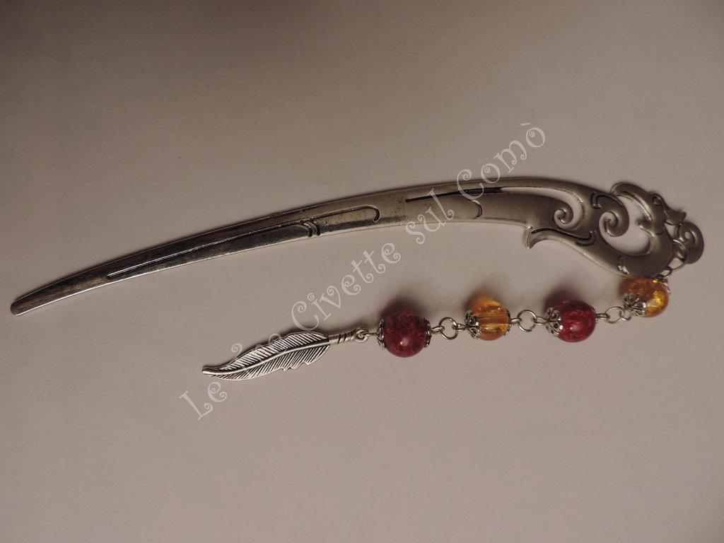Fenice Segnalibro e Spilla per Capelli in argento tibetano con perle rosse e gialle