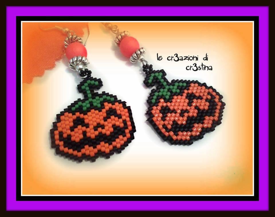 Orecchini charm Zucca Halloween perline