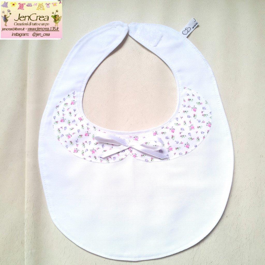 1 bavaglino elegante bambina colletto bianco fiorellini