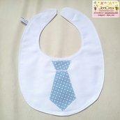 1 Bavaglino elegante bambino cravatta celeste pois bianchi