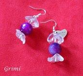 Orecchini caramella pendenti con agata viola e vetro di Murano