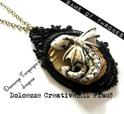 Daenerys Targaryen's dragon Drago Cammeo collana idea regalo drago bianco Game of Thrones