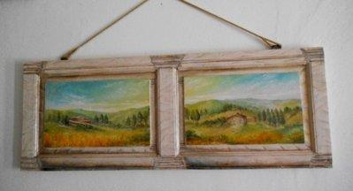 pannello di legno dipinto a trompe-l'oeil