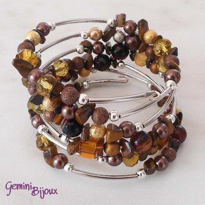 Bracciale armonico autunno con perle e chips
