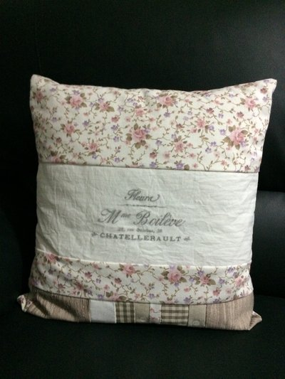 CUSCINO SHABBY STILE PATCHWORK+STAMPA DIY