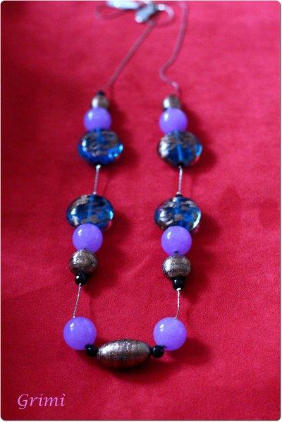 Collana lunga con vetro di Murano, onice e argento