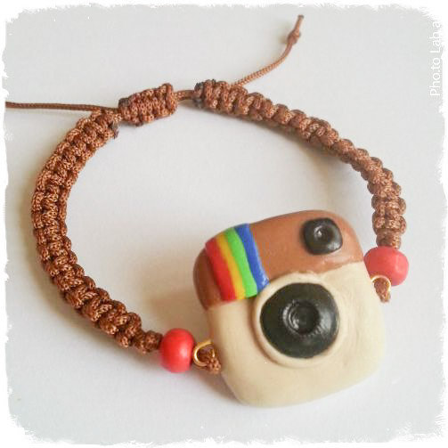 "Braccialetto macramé ""Instagram"" fimo"