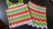 Top + gonna di cotone bianco, verde, arancione fatti a mano
