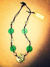 Collana artigianale in legno (Verde)