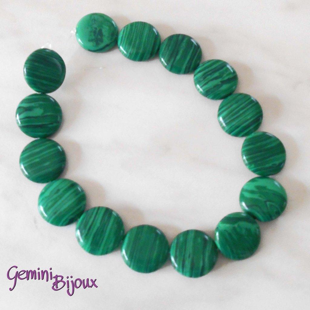 Fila 15 perle tonde piatte di malachite 18mm