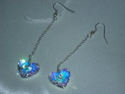 orecchini pendenti con cuore di swarovski colore aurora boreale
