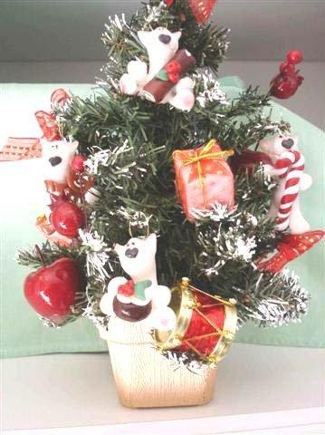 JUST XMAS - NATALE FIMO - ALBERO di NATALE già ADDOBBATO con PEEK A BULL TERRIER - I GOLOSONI  - idea regalo, decorazione, segnaposto, centrotavola