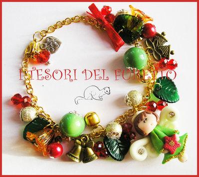 "Bracciale Natale ""Fufuangel rosso oro verde "" angelo fimo kawaii idea regalo angioletto"
