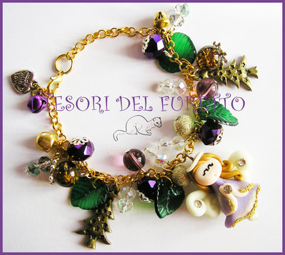 "Bracciale ""Natale Fufuangel viola oro verde"" fimo cernit kawaii angelo angioletto idea regalo bijoux 2014"