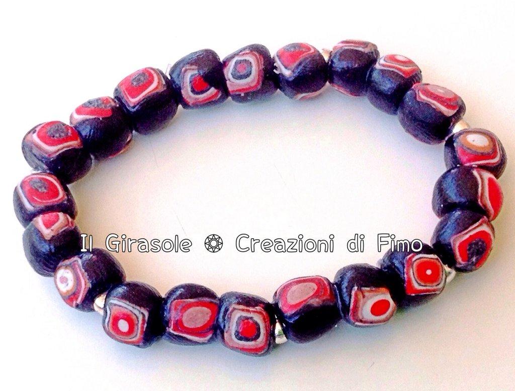 Bracciale elastico con perle con murrina fatte a mano