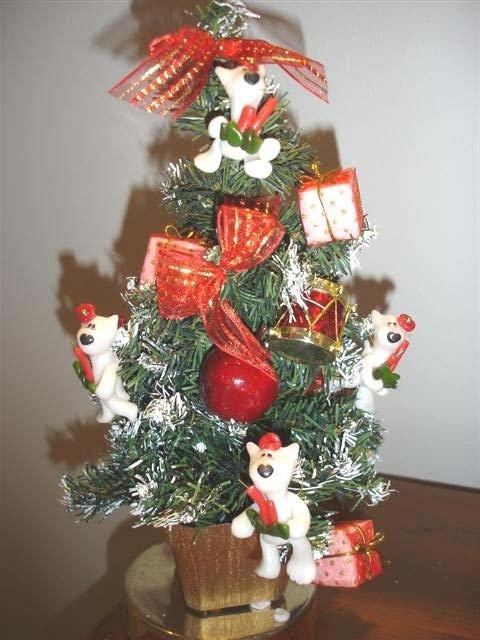 JUST XMAS - NATALE FIMO - ALBERO di NATALE già ADDOBBATO con PEEK A BULL TERRIER - CANDELE NATALIZIE   - idea regalo, decorazione, segnaposto, centrotavola