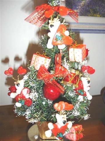 JUST XMAS - NATALE FIMO - ALBERO di NATALE già ADDOBBATO con PEEK A BULL TERRIER - LOVE A BULL  - idea regalo, decorazione, segnaposto, centrotavola