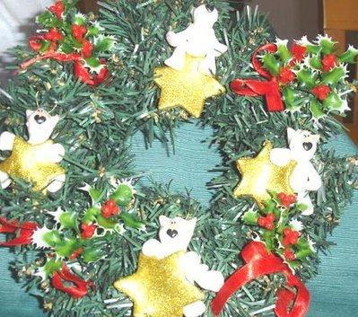 JUST XMAS - NATALE FIMO - CORONCINA NATALIZIAcon PEEK A BULL TERRIER - ORO- idea regalo, decorazione, segnaposto, centrotavola