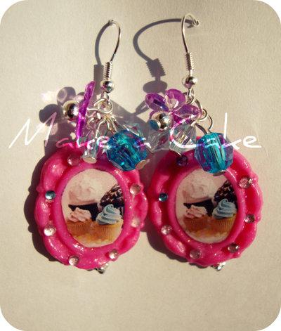 ♥ orecchini Love Cupcake , pink ♥
