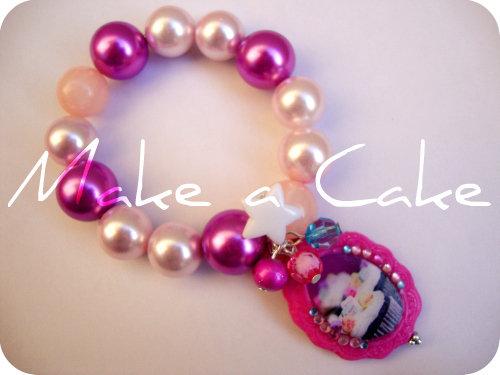 ♥ braccialetto elasticon con perlone e ciondolo I Love Cupcake ♥