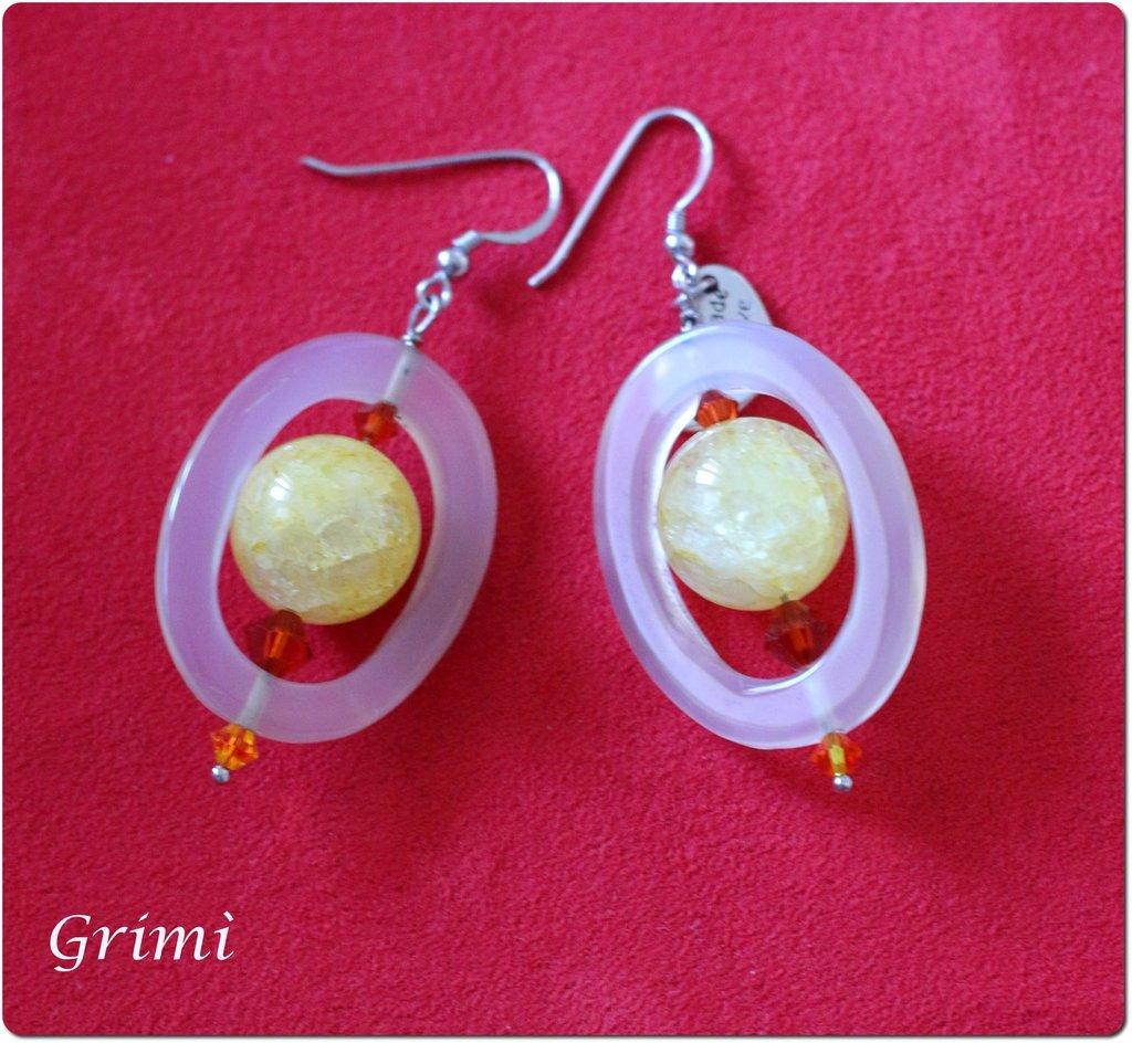 Orecchini pendenti in argento con agata trasparente e cristallo crack giallo