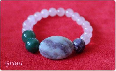 Bracciale elastico con ametista, giada verde, quarzo rosa e diaspro