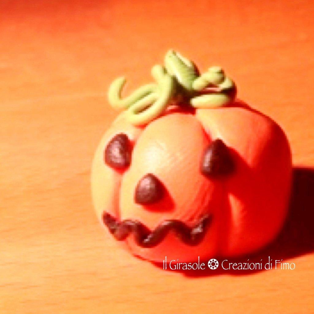 Collana con catena con la Zucca di Halloween in Fimo