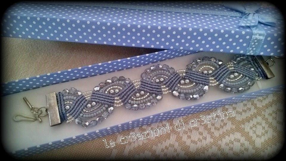 Bracciale Onde in Macramè con Mezzi Cristalli Argento Perline Filo Azzurro