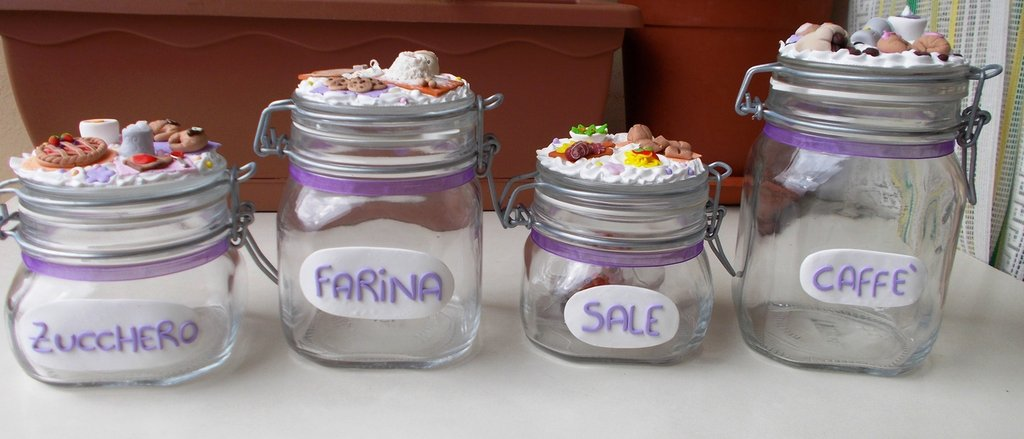 Set barattoli zucchero farina sale e caff per la for Porta zucchero caffe sale