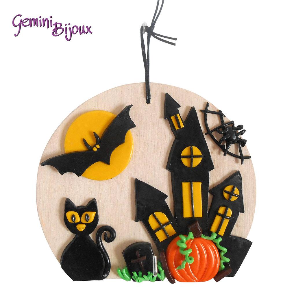 Appendi presina Halloween in legno e fimo