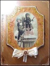 Quadretto in legno con immagine Invernale Vintage.