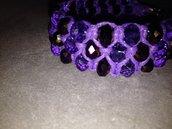Bracciale di cristalli viola su filo d'argento - Serie Crystal