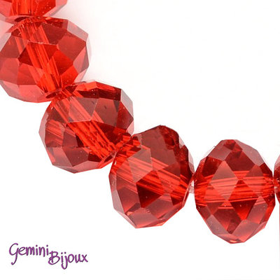 Lotto 10 rondelle in vetro sfaccettate 10x7 rosso