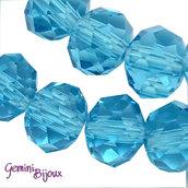 Lotto 10 rondelle in vetro sfaccettate 10x7 azzurro