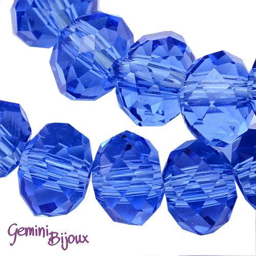 Lotto 10 rondelle in vetro sfaccettate 10x7 blu medio