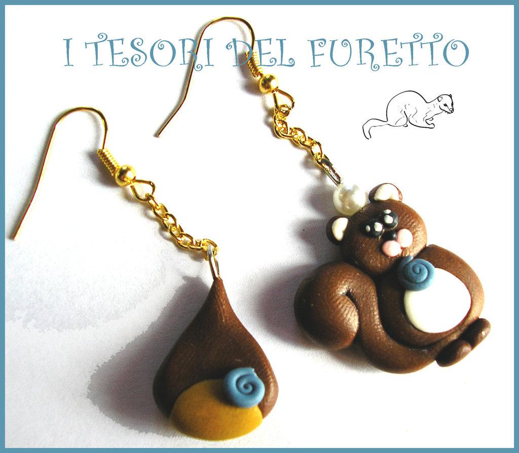 """Orecchini Natale """"Fufusquit con castagna"""" scoiattolo fimo cernit kawaii bijoux natalizi idea regalo bambina"""