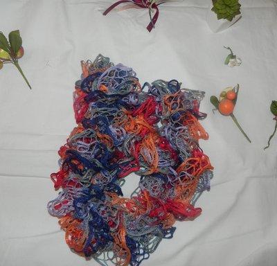 Sciarpa handmade filato volant multicolore