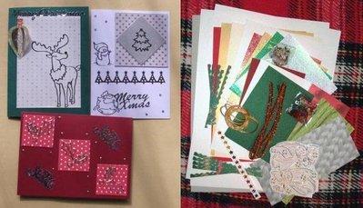 Kit Creativo Natalizio Calendario dell'Avvento e Cardmaking - Merry Christmas^^con 3 Biglietti Auguri già pronti!